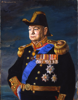 Portrait of Sir Winston Spencer Churchill (1874 - 1965) as Lord Warden of the Cinque Ports, Bernard Hailstone