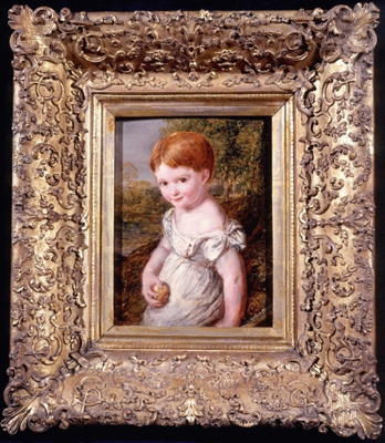 Portrait of a young child with an apple, John Linnell