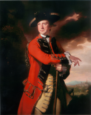 Portrait of an officer of 50th Foot, identified as Major Sir Alexander Hope 4th Bt. (1728 - 1794), Joseph Wright of Derby ARA