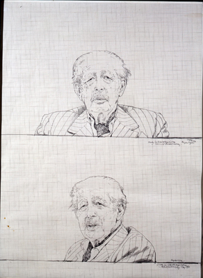 Portrait sketch of Sir Harold Macmillan Earl of Stockton PM (1894 - 1986), Bryan Organ