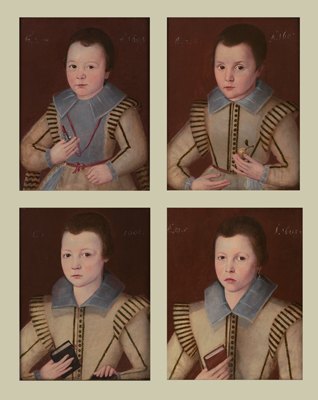 Four portraits of the young Sons of Sir John Ffolliott:  Master Aylmer Ffolliott, Master John Ffolliott, Master Francis Ffolliott, Master Henry Ffolliott,  English School