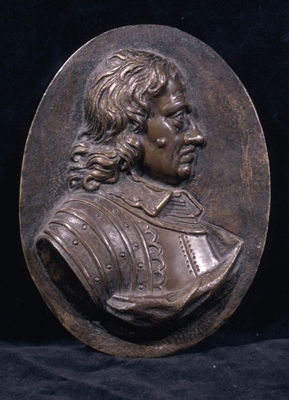 A Bronze Portrait Relief of Oliver Cromwell (1599-1658), After Louis Francois Roubiliac (1695-1762)