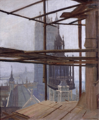 View of St Stephen's Tower, Palace of Westminster. 1940s, Frank O. Salisbury RA