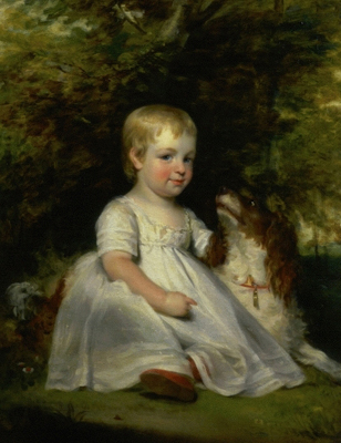Portrait of a Young Child with a Dog, 1830s, Richard Buckner