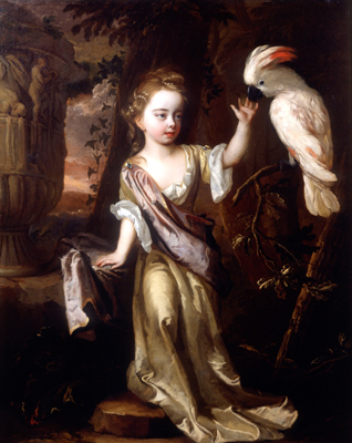 Portrait of a young girl with a cockatoo, Michael Dahl