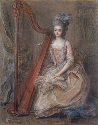 Presumed Portrait of Mme. de Genlis Playing a Harp (1746 - 1830), Francois Guerin