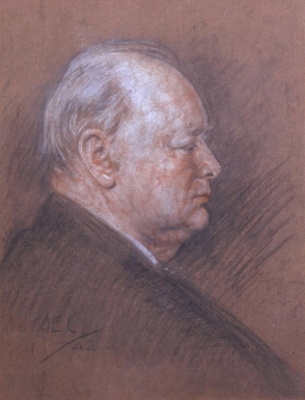 Life Sketch for the Victory Portrait of Sir Winston Churchill,, Alfred Egerton Cooper