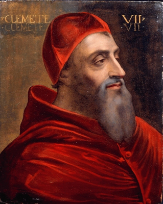 Portrait of Giulio de''Medici (1478 - 1534) Pope Clement VII, Sebastiano Luciano called del Piombo, Studio of