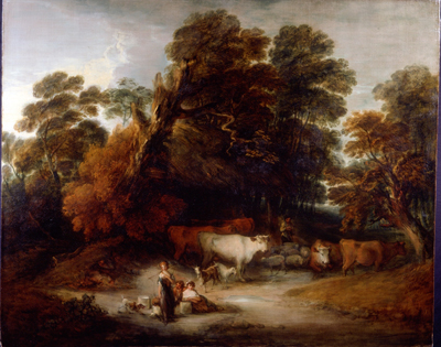 Wooded Landscape with drover and cattle and milkmaids, Thomas Gainsborough RA