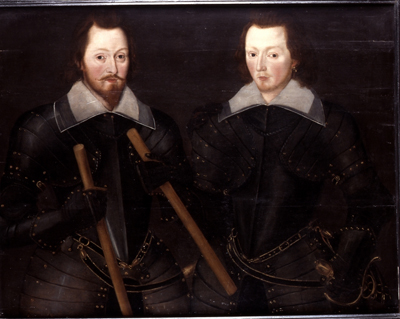 Portrait of Two Gentlemen in armour, perhaps Sir Thomas Monson Bt and his son Sir John Monson Bt, Follower of Robert Peake