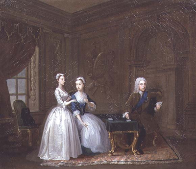 John, 2nd Duke of Montagu (1690-1749), his wife Lady Mary Churchill, daughter of the Duke of Marlborough, and their youngest daughter, Lady Mary Montagu, c.1730, Gawen Hamilton