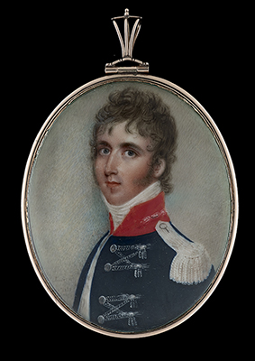 Portrait miniature of an Officer wearing the uniform of the 15th Regiment of Light Dragoons, The King's Hussars, his dark blue coat with silver lace and red facings, Samuel Andrews