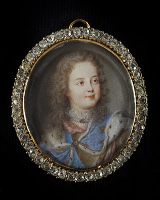 Portrait miniature of Louis XV (1710-74) as a child wearing ceremonial robes and armour, Benjamin Arlaud