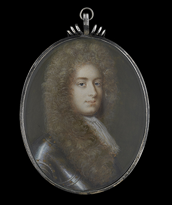 Portrait miniature of Robert Feilding (1650/1-1712), wearing armour with lace jabot and full-bottomed wig, Jacques-Antoine Arlaud