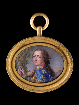 Portrait miniature of Louis XV (1710-74), King of France (1715-74) in gilt-bordered armour, wearing a blue cloak decorated with gold fleur-de-lys, Louis-Francois Aubert