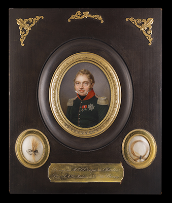 Portrait miniature of Charles-Ferdinand d'Artois, Duc de Berry (Duke of Berry) (1778-1820), 1820, Jean Baptiste Jacques Augustin