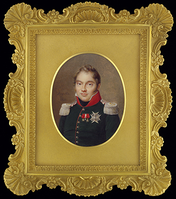 Portrait miniature of Charles-Ferdinand d'Artois, Duc de Berry (Duke of Berry) (1778-1820), wearing green uniform with red collar and gold lace, with the star of the Order of the St Esprit and the Order of the Legion d'Honneur, 1820, Jean Baptiste Jacques Augustin