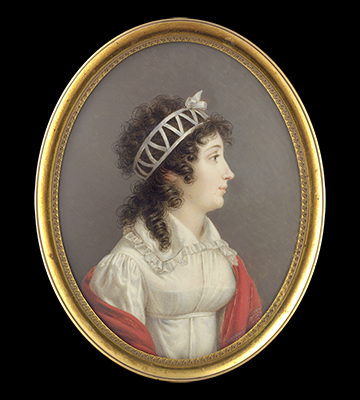 Portrait miniature of a Noblewoman, profile to the right, wearing white dress, red Kashmir shawl and pierced ribbon bandeau, Louis Marie Autissier