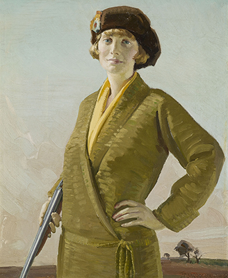 Woman in Green Holding a Gun, 1924, James Penniston Barraclough