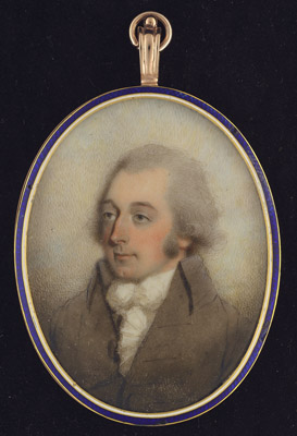 Portrait miniature of a Gentleman, wearing buff-coloured coat and white frilled shirt, James Barry