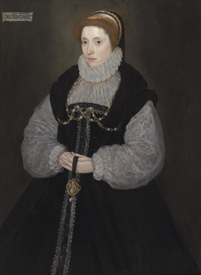 Portrait of The Hon. Dorothy Latimer (1549-1608), wife of Thomas Cecil, later 1st Earl of Exeter, holing a pendant depicting Perseus, John Bettes the Younger
