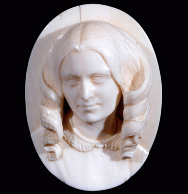 Ivory relief of Elizabeth Barrett, Mrs Browning (1806-61), c.1865, Jacques-Pierre-Theodore Blard