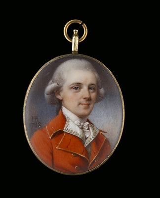 Portrait miniature of a Gentleman wearing a red jacket with white embroidered shirt, 1782, John Bogle