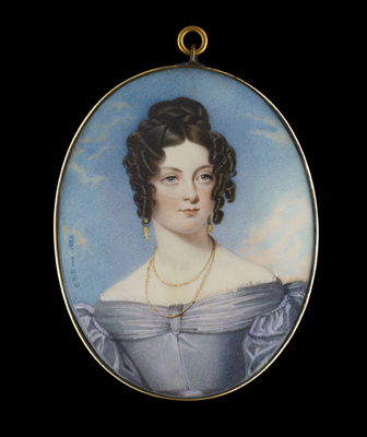 Portrait miniature of a Lady wearing a grey-blue dress with white underslip, gold strand necklace and pendant earrings, her dark hair curled and plaited, 1835, Charles Richard Bone