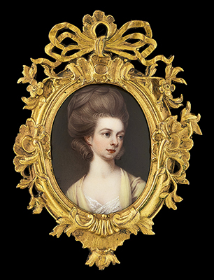 Portrait enamel of Mrs Mary Manners-Sutton (née Thoroton) (1756-1832) , wearing yellow dress with white lace underdress, her light brown hair curled and worn upswept, Henry Bone RA