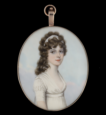 Portrait miniature of a Young Lady in a white low-cut dress, Frederick Buck
