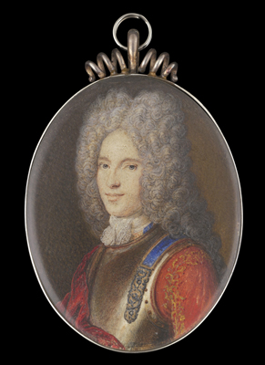Portrait miniature of a Nobleman, wearing armour breastplate, scarlet jacket embroidered with gold and red cloak, lace jabot, his hair powdered, Anne Marie Belle (née Cheron)