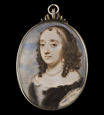 Portrait miniature of a Lady wearing a double sable fur tippet with jewelled clasp, Samuel Cooper