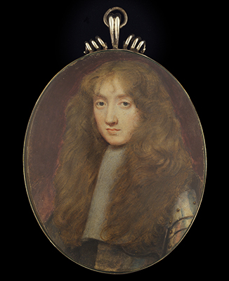 Portrait miniature, probably Nicholas Tufton, 3rd Earl of Thanet (1631-1679), wearing armour with studded breastplate, large falling lace collar, his hair worn long, Samuel Cooper