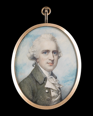 Portrait miniature of Andrew Stuart (d.1801) of Castlemilk and Torrance, wearing grey-green coat, white waistcoat, frilled chemise and stock, his hair powdered and worn en queue, Richard Cosway
