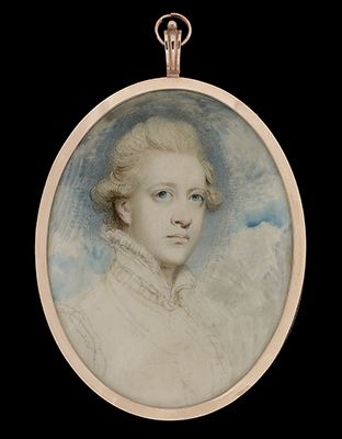 An unfinished portrait miniature of William Cavendish, 5th Duke of Devonshire (1748-1811), wearing 'van Dyck' dress, 1782, after Sir Joshua Reynolds (1723-92), Richard Cosway
