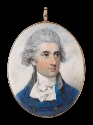 Portrait miniature of Edward Johnston, wearing blue coat with pale grey collar, white waistcoat and tied cravat, his hair powdered, 1796, Richard Cosway
