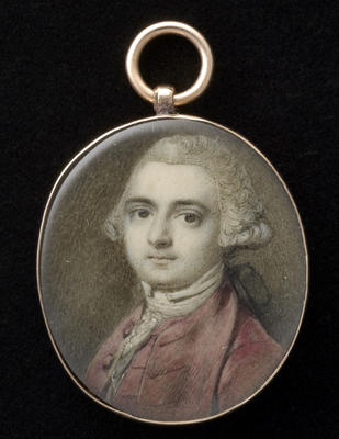 Portrait miniature of a Gentleman, wearing pinkish-red coat, with matching waistcoat and white lace stock, his hair powdered and worn en queue with black ribbon, Richard Cosway