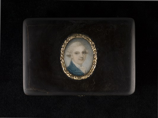 Portrait miniature of a Gentleman, wearing blue coat and white shirt with his hair powdered, c.1780s, Richard Cosway