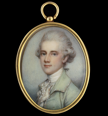 Portrait miniature of a Gentleman wearing a green jacket, his hair powdered, c.1765, Richard Cosway