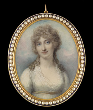 Portrait miniature of Elizabeth Talbot (née Hoey), Countess of Shrewsbury (d.1847), wearing white dress with lace fichu and gold ribbon belt, her hair powdered, Richard Cosway