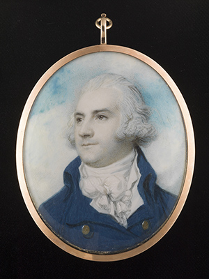 Portrait miniature of a Gentleman, wearing blue coat with gold buttons, tied stock and frilled cravat, c.1790, Richard Cosway