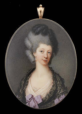 Portrait miniature of a Lady wearing pale pink dress and black lace shawl, feathers in her powdered hair, Samuel Cotes