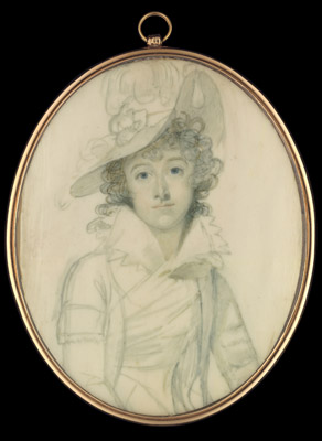 A portrait miniature of a Lady, wearing wide-brimmed hat with ostrich feathers, Richard Crosse
