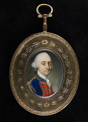 Portrait miniature of Major-General William Phillips (c.1731-81) wearing the uniform of The Royal Artillery, Richard Crosse