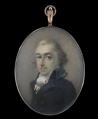 Portrait miniature of a Gentleman, thought to be a member of the Edwards family of Talgarth Hall, (c. 1795) wearing blue coat and white cravat, his hair powdered, Abraham Daniel