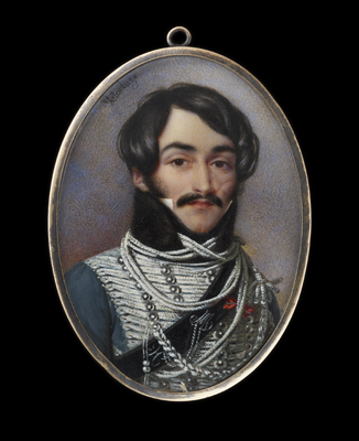 Portrait miniature of an Hussar Officer, with a scar on his left cheek, Jean Edmé Pascal Martin Delacluze