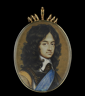 Portrait miniature of Charles II (1630-1685), as Prince of Wales, in armour breastplate, buff doublet with embroidered sleeves, white lawn collar with tassels, wearing the blue sash of the Order of the Garter, natural curling brown hair, 1655, David Des Granges
