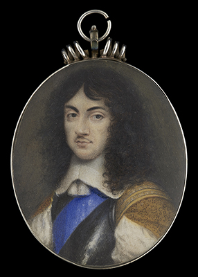 Portrait miniature of Charles II (1630-85), as Prince of Wales, in armour breastplate, wearing the blue sash of the Order of Garter, c.1653, David Des Granges