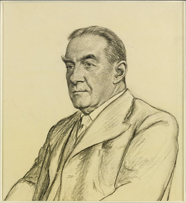 Portrait drawing of Stanley Baldwin, 1st Earl Baldwin of Bewdley KG (1867-1947), Francis Dodd