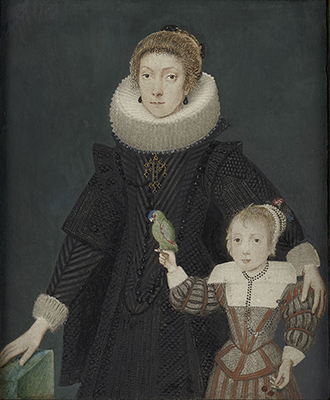 A Mother and Child; she, wearing black dress, white ruff and large, jewelled cross; the child, holding a parrot, wears fawn and rust-coloured tunic, white lawn collar and cap with fresh flowers, cherries in their left hand, gilded border, c.1620, Dutch or Flemish School
